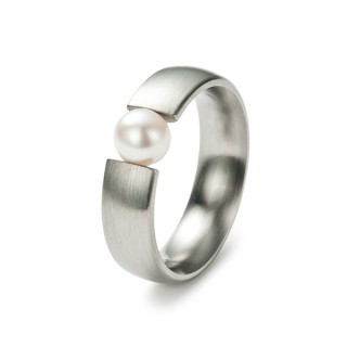 Ring 10003 Stahl mit Perle